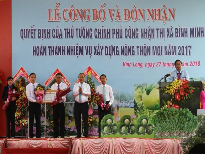 Thị xã đầu tiên Vĩnh Long được công nhận nông thôn mới
