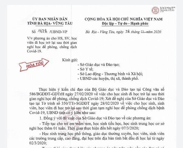 Bà Rịa-Vũng Tàu: Mầm non, tiểu học, THCS nghỉ đến 7-3