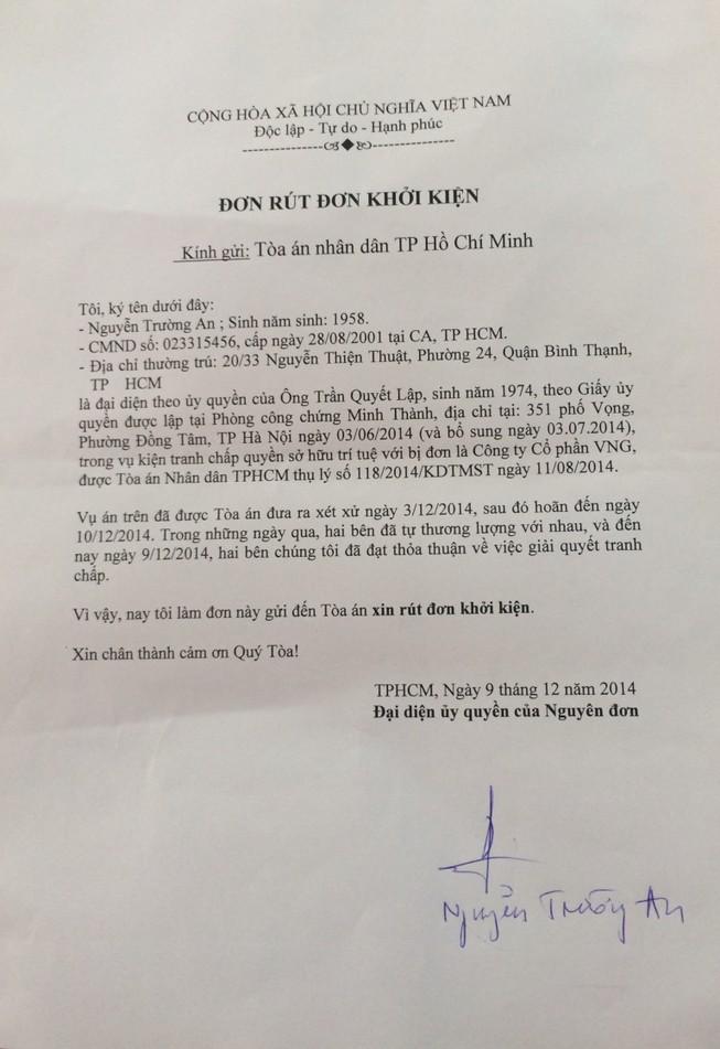 Nhạc sĩ Trần Lập rút đơn kiện ZingMP3 đòi nhuận bút