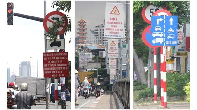 Lộn xộn, loạn xạ biển báo giao thông ở Sài Gòn