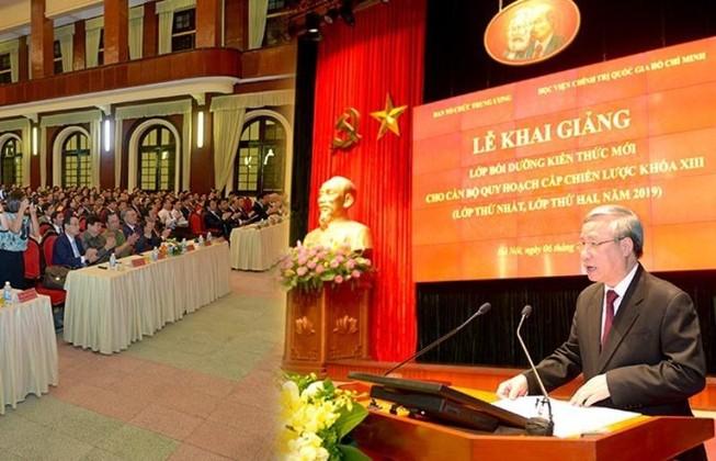 Thường trực Ban Bí thư Trần Quốc Vượng phát biểu khai giảng khóa thứ hai lớp bồi dưỡng cán bộ quy hoạch Ban Chấp hành Trung ương khóa XIII.