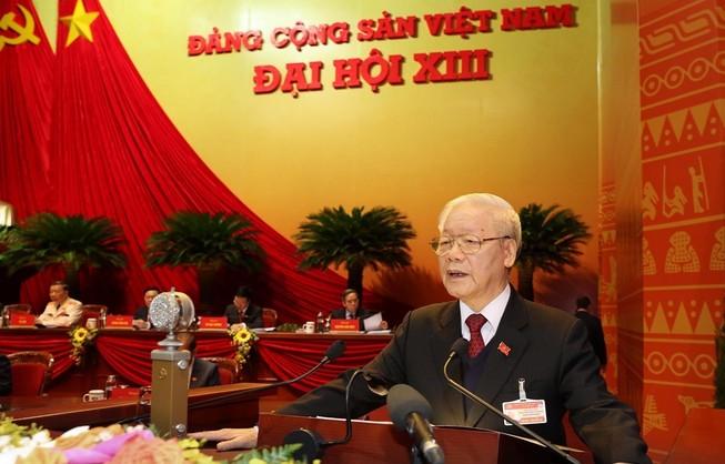 Tổng bí thư, Chủ tịch nước Nguyễn Phú Trọng báo cáo tại Đại hội XIII của Đảng. Ảnh: TTXVN