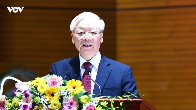 Tổng Bí thư, Chủ tịch nước Nguyễn Phú Trọng có bài phát biểu gần 9.000 từ, kéo dài 1h14', kết luận Hội nghị Toàn quốc tổng kết 8 năm công tác PCTN. Ảnh: VOV.