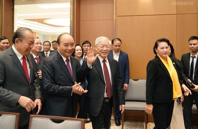 Tổng bí thư, Chủ tịch nước Nguyễn Phú Trọng dự hội trưc nghị trực tuyến toàn quốc của Chính phủ, ngày 30-12-2019. Ảnh: TTXVN
