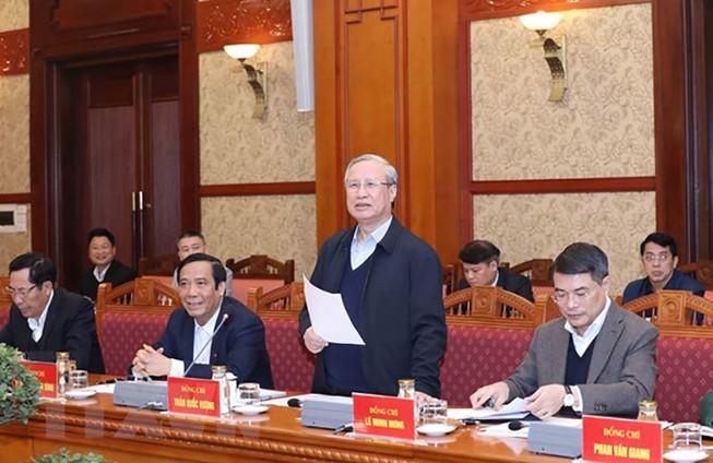 Ông Trần Quốc Vượng, Ủy viên Bộ Chính trị, Thường trực Ban Bí thư, chủ trì Hội nghị. Ảnh: TTXVN