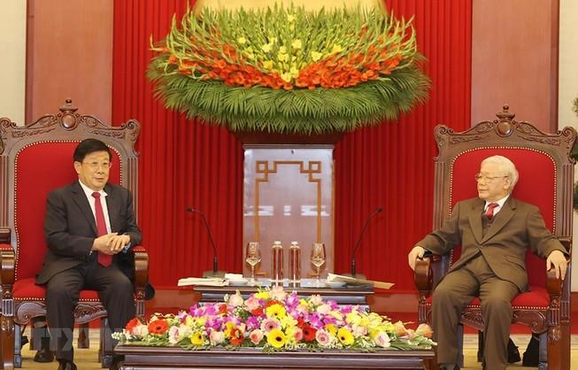 Tổng Bí thư, Chủ tịch nước Nguyễn Phú Trọng tiếp Bộ trưởng Bộ Công an Trung Quốc Triệu Khắc Chí. Ảnh: TTXVN