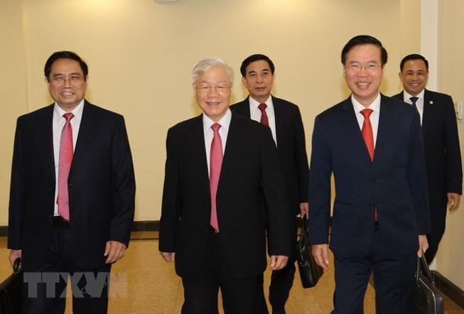 Tổng bí thư, Chủ tịch nước Nguyễn Phú Trọng cùng các lãnh đạo Đảng, Nhà nước đến dự Hội nghị. Ảnh: TTXVN