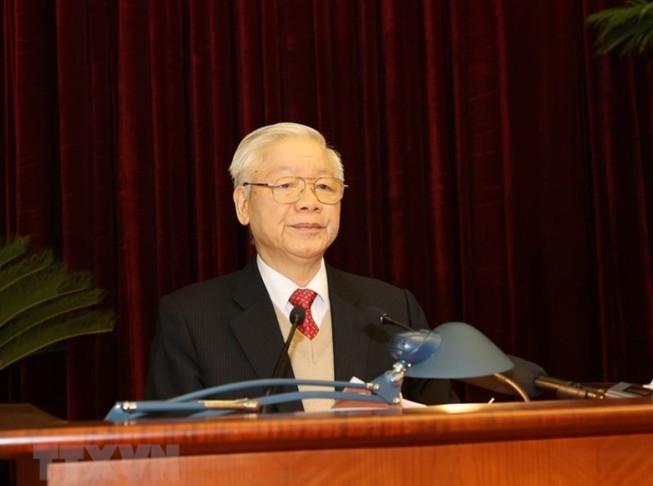 Tổng Bí thư, Chủ tịch nước Nguyễn Phú Trọng phát biểu khai mạc Hội nghị Trung ương 15. Ảnh: TTXVN