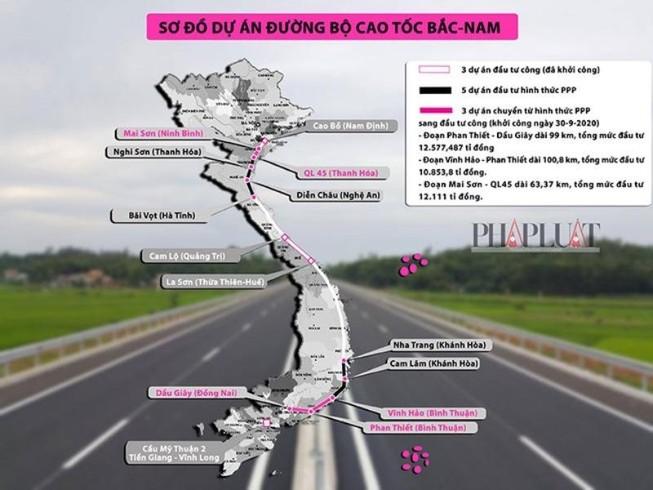 2 dự án của cao tốc Bắc Nam chưa có nhà đầu tư