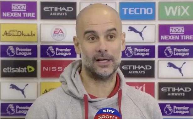Pep Guardiola trả lời phỏng vấn Sky Sports. ẢNH: SKY SPORTS