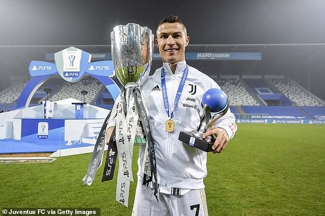Ronaldo bên chiếc siêu cúp nước Ý. ẢNH: GETTY