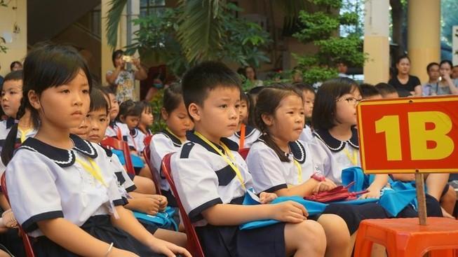 Học sinh trường tiểu học Trần Quốc Thảo trong ngày tựu trường. Ảnh: NGUYỄN QUYÊN