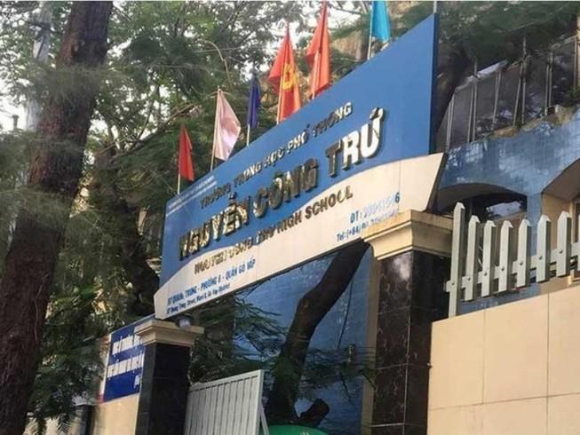 Trường THPT Nguyễn Công Trứ (quận Gò Vấp, TP.HCM), nơi xảy ra sự việc. Ảnh: A.N