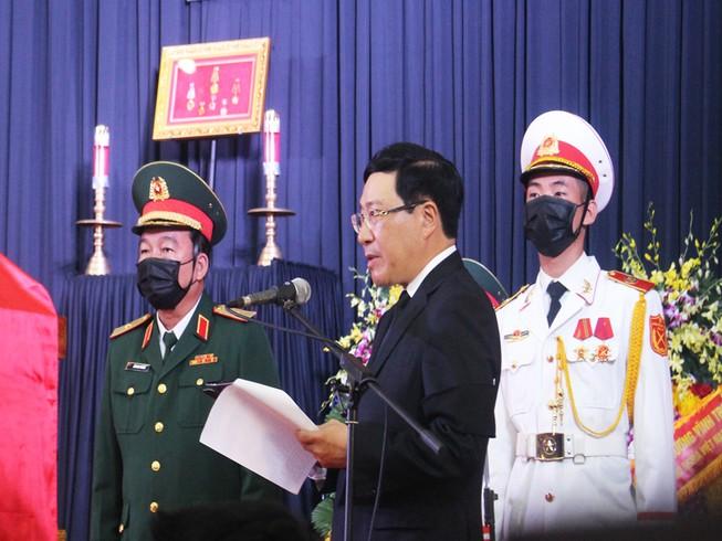 Phó thủ tướng Phạm Bình Minh đọc điếu văn. Ảnh: Đ.HÀ