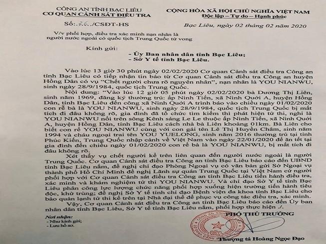 Nghi có người Trung Quốc chết bất thường ở Bạc Liêu