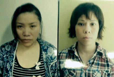 Hai đối tượng Trang và Nguyệt. (Ảnh: Cơ quan điều tra cung cấp)