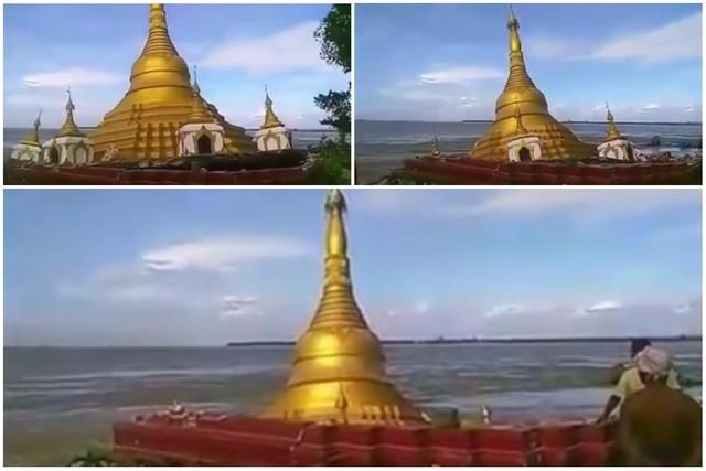 Chùa vàng ở Myanmar bị nước lũ nuốt chửng - ảnh 1