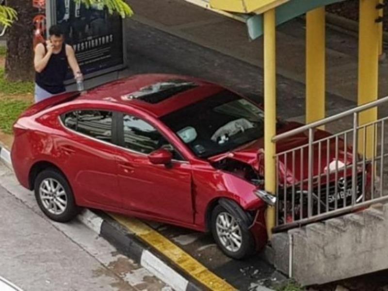 Hoảng vì gián, cụ bà mất tay lái đâm xe lên cầu - ảnh 1