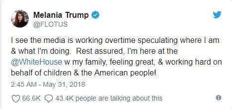 Bà Trump lên tiếng sau khi vắng mặt suốt 20 ngày - ảnh 1