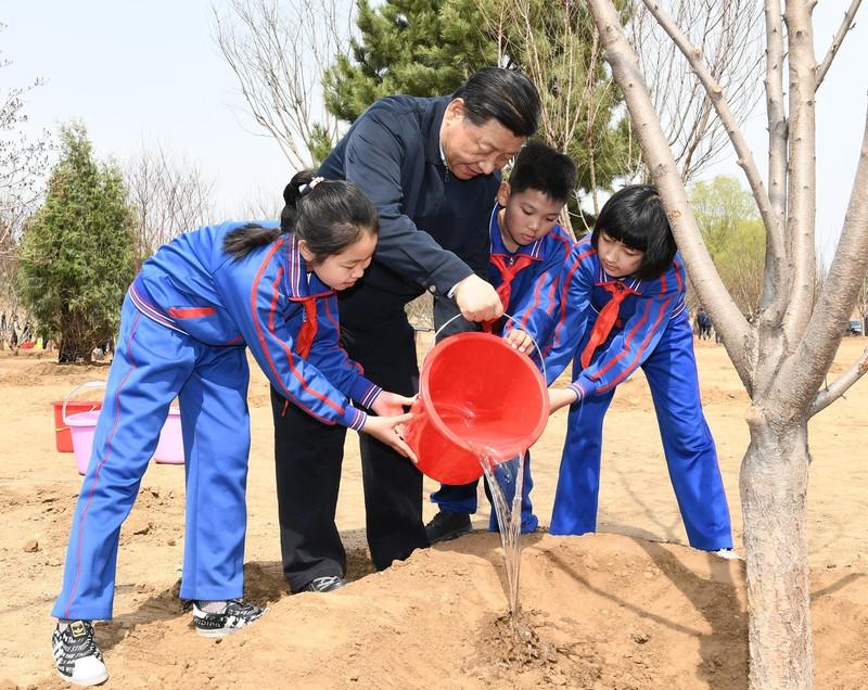Ông Tập Cận Bình cùng trồng cây với học sinh Trung Quốc - ảnh 3