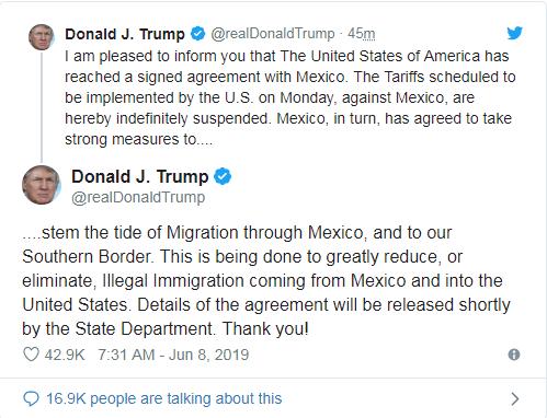 Ông Trump hoãn áp thuế vô thời hạn với Mexico - ảnh 2