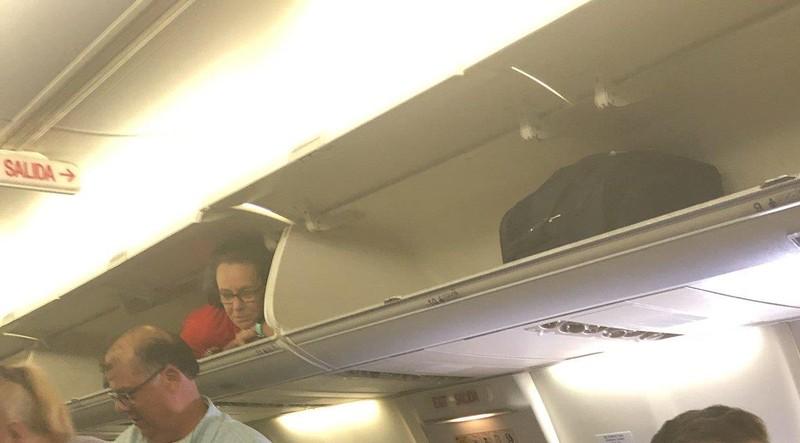 Lạ đời tiếp viên hàng không chui vào cabin, thò đầu chào khách - ảnh 1