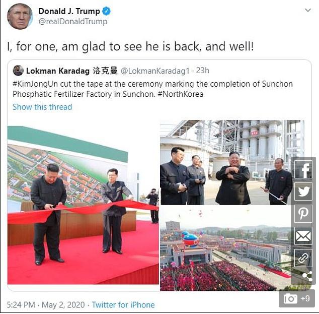 Ông Trump lần đầu tiên phát biểu về việc ông Kim 'tái xuất' - ảnh 2