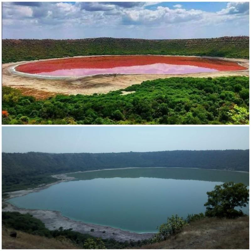 Kỳ lạ hồ nước 50.000 năm bỗng chuyển từ màu xanh sang hồng  - ảnh 1