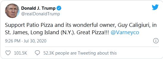 Được ông Trump ủng hộ, cửa hàng pizza bị đánh giá 1 sao - ảnh 1