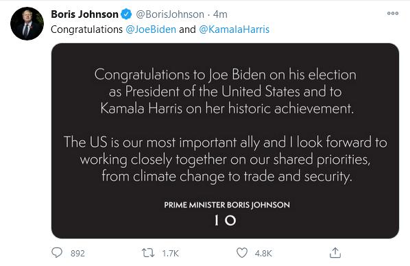 Những chính trị gia đầu tiên chúc mừng ông Biden thắng cử - ảnh 1