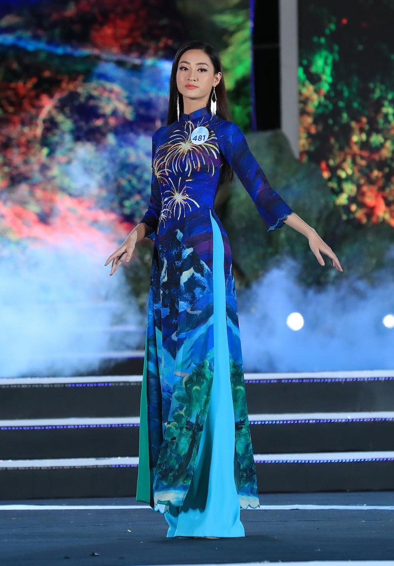 Áo dài hình ảnh đèo Hải Vân giúp Lương Thùy Linh đăng quang - ảnh 1