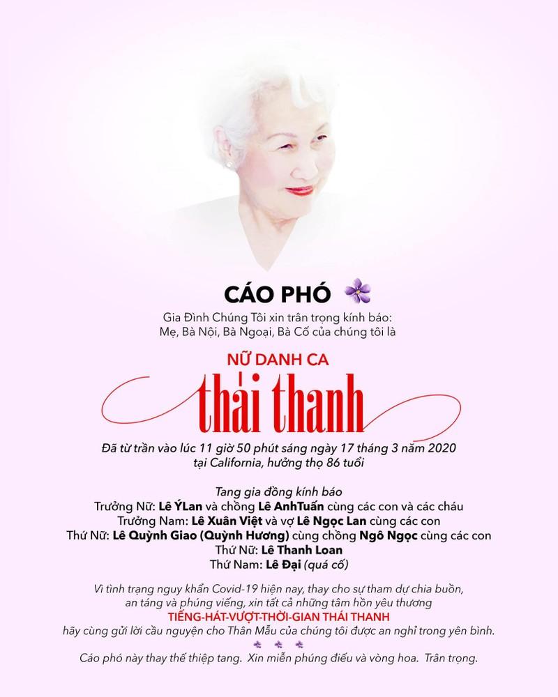Không tổ chức lễ viếng danh ca Thái Thanh vì COVID-19 - ảnh 1