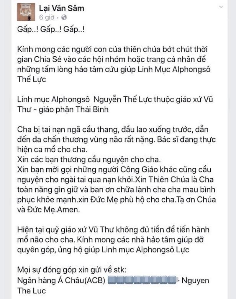 Trang giả Lại Văn Sâm kêu gọi chuyển tiền giúp linh mục bị nạn - ảnh 1