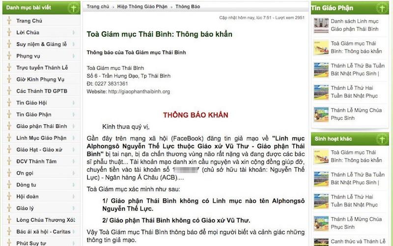 Trang giả Lại Văn Sâm kêu gọi chuyển tiền giúp linh mục bị nạn - ảnh 3