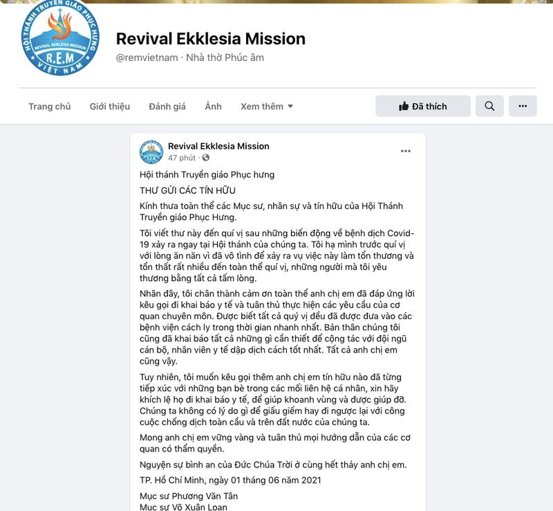 Hội Thánh Truyền giáo Phục hưng kêu gọi tín hữu khai báo dịch - ảnh 1