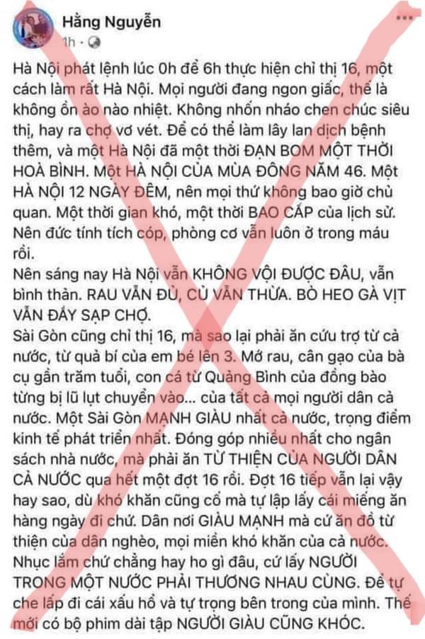 Chủ tài khoản Facebook Hằng Nguyễn bị Sở TT&TT TP.HCM mời làm việc - ảnh 1