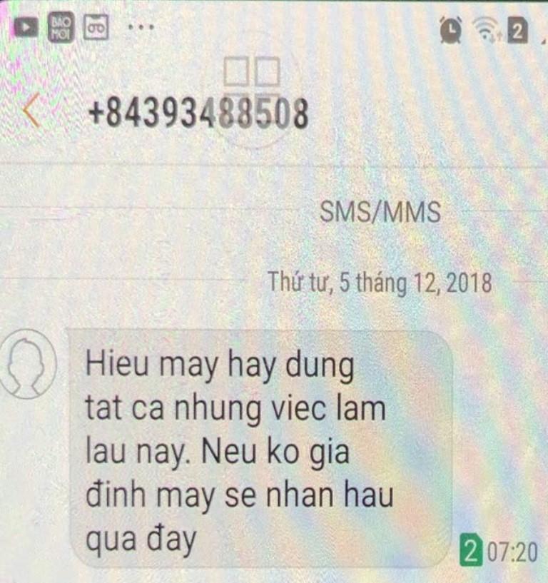 1 phó bí thư huyện bị nhắn tin đe dọa - ảnh 2