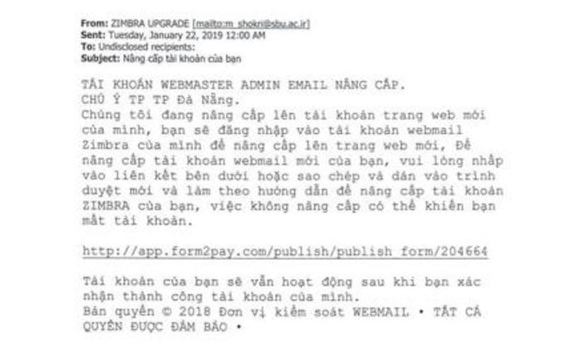 Thư lừa đảo tấn công email công vụ của TP Đà Nẵng - ảnh 1