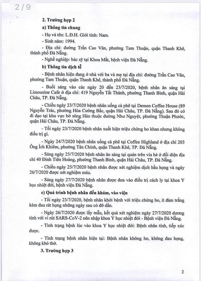 Lịch trình 11 bệnh nhân COVID-19 tại Đà Nẵng vừa công bố - ảnh 2