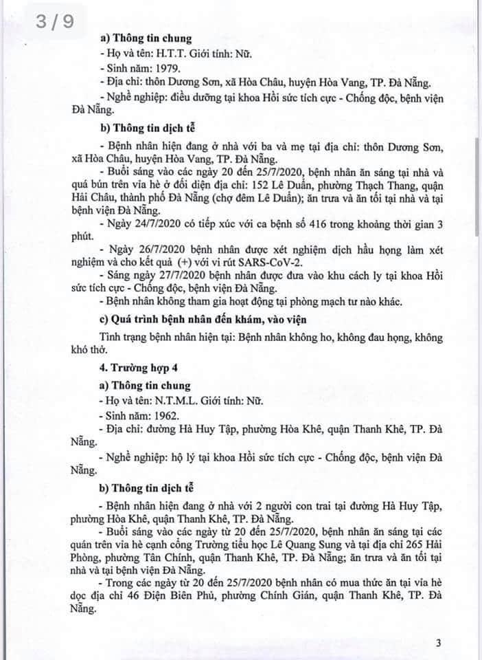 Lịch trình 11 bệnh nhân COVID-19 tại Đà Nẵng vừa công bố - ảnh 3