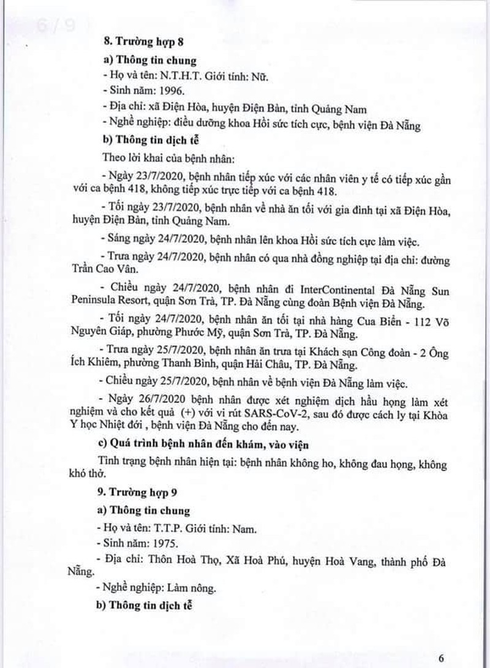 Lịch trình 11 bệnh nhân COVID-19 tại Đà Nẵng vừa công bố - ảnh 6