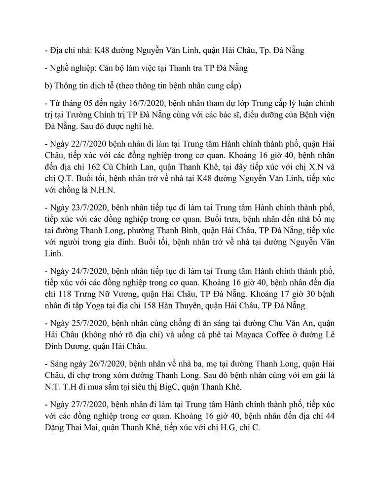 Cán bộ Thanh tra TP Đà Nẵng mắc COVID-19 đi rất nhiều nơi - ảnh 2
