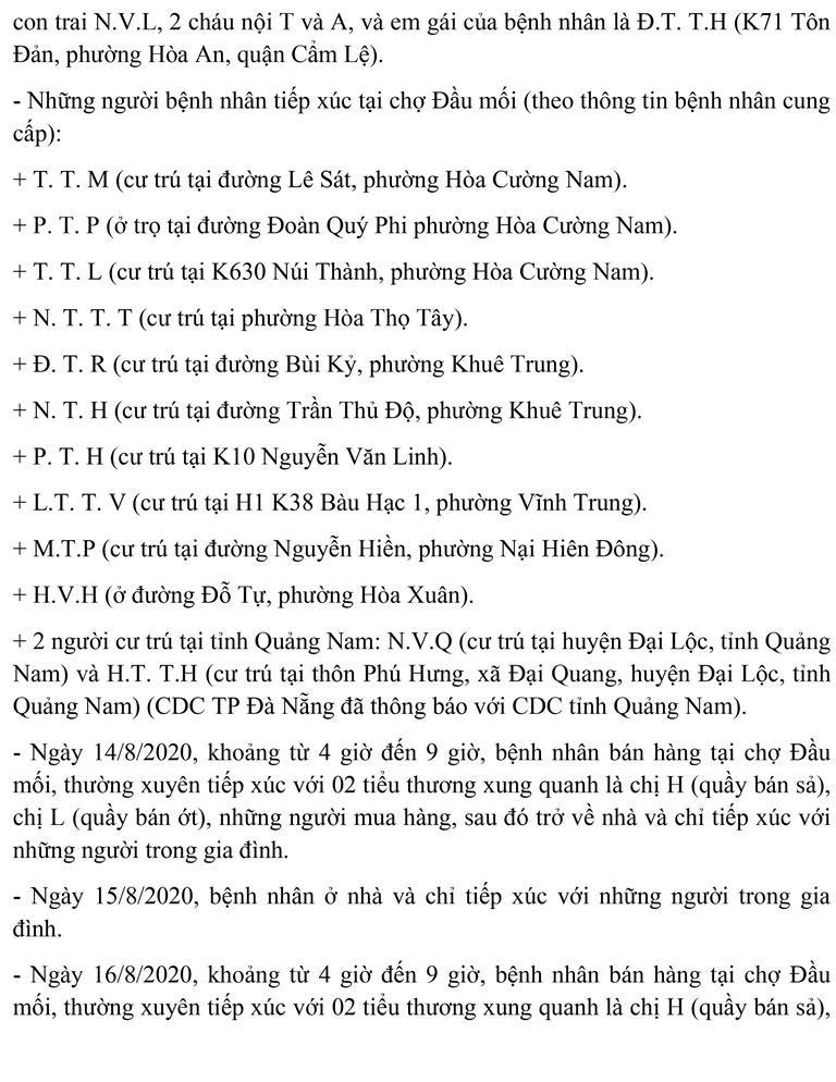 Đà Nẵng: Lịch trình của tiểu thương chợ đầu mối mắc COVID-19  - ảnh 4