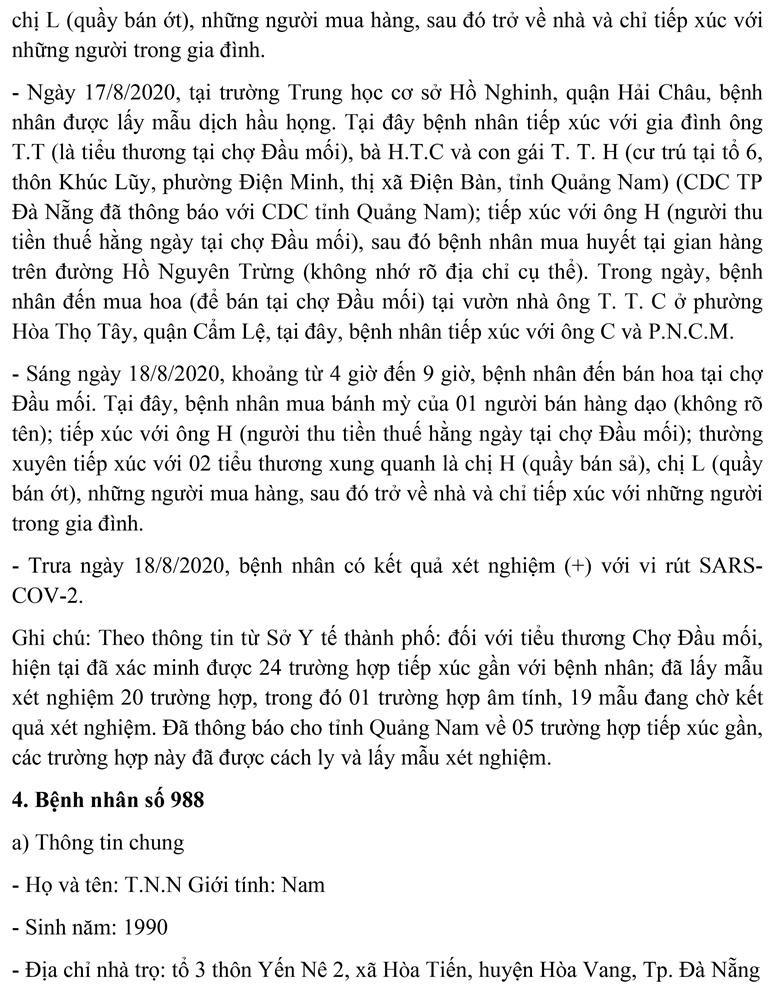 Đà Nẵng: Lịch trình của tiểu thương chợ đầu mối mắc COVID-19  - ảnh 5