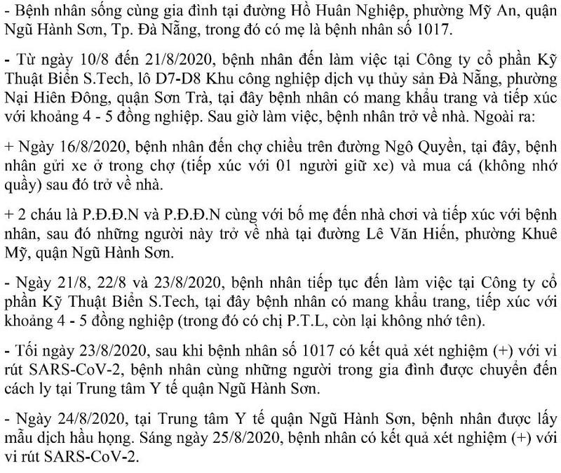 Lịch di chuyển của 5 ca mắc COVID-19 trong gia đình BN1017 - ảnh 7