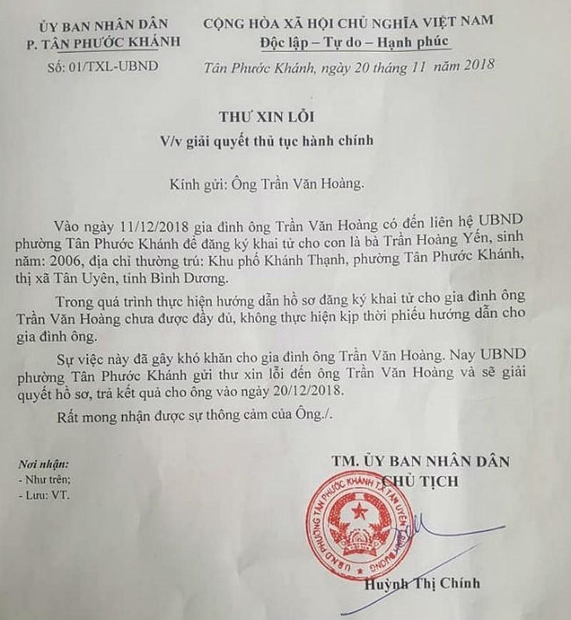 Thủ tướng chỉ đạo xử lý vụ không cấp giấy khai tử ở Bình Dương - ảnh 1