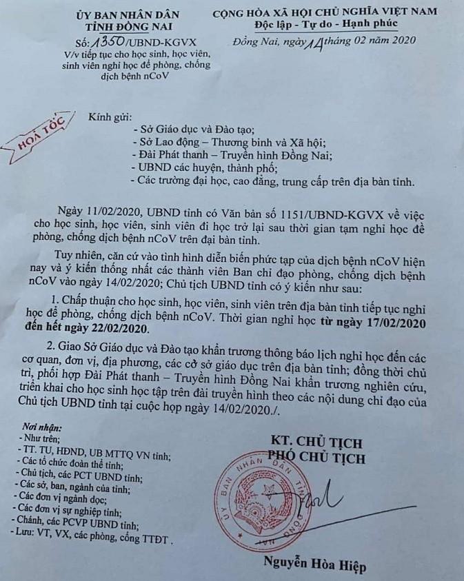 Học sinh Đồng Nai nghỉ thêm 1 tuần nữa để phòng dịch Corona - ảnh 1