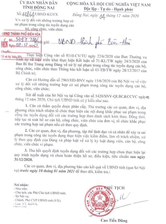 Đồng Nai: Xử lý sai phạm tuyển dụng 358 cán bộ, viên chức - ảnh 1