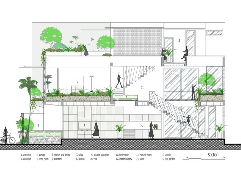 Thiết kế ấn tượng với hồ cá đáy kính tầng 2 - ảnh 17