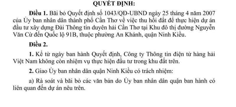 Cần Thơ: Xóa một dự án 12 năm ở quận Ninh Kiều - ảnh 1